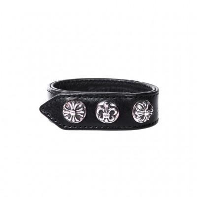 Chrome Hearts PLUS FLEUR PLUS LEATHER BRACELET