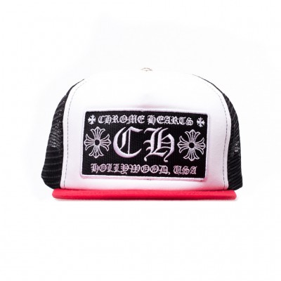 Chrome Hearts CH PATCH WHITE-RED-BLACK TRUCKER KIDS CAP