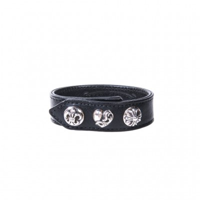 Chrome Hearts FLEUR HEART PLUS LEATHER BRACELET