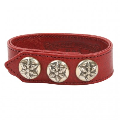 Chrome Hearts FIVE POINT STAR LEATHER BRACELET
