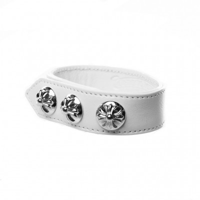 Chrome Hearts CH PLUS LEATHER BRACELET White