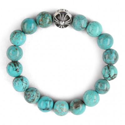 Chrome Hearts CH CROSSBALL 10MM TURQUOISE BEAD BRACELET