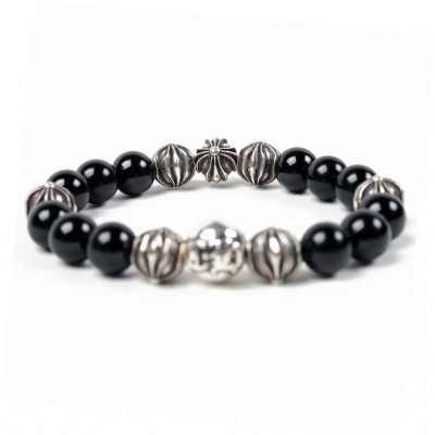 Chrome Hearts CH PLUS BALL ONYX 10MM BEAD BRACELET