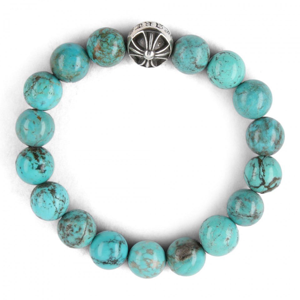 Bracelet With Hearts: Chrome Hearts CH CROSSBALL TURQUOISE BEAD BRACELET
