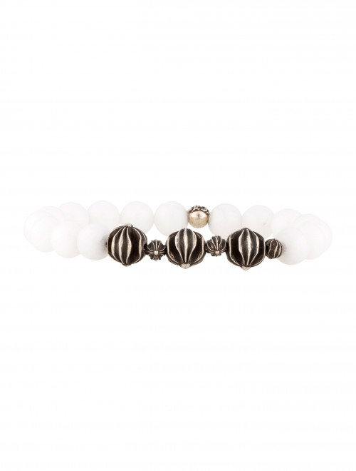 CHROME HEARTS cross charms and white AGATE BEAD BRACELET