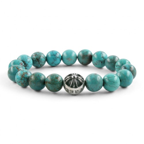 Chrome Hearts CH CROSSBALL TURQUOISE BEAD BRACELET